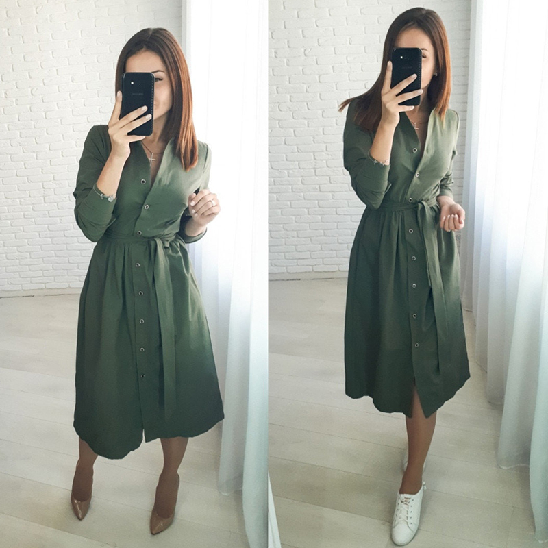 Women Casual Sashes Button A-line Dress Office Lady Stand Collar Long Sleeve Solid Dress 2019 Autumn Winter Elegant Party Dress