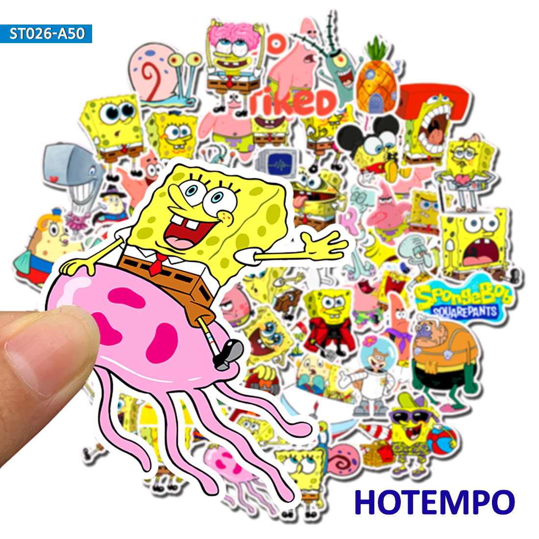 50pcs Cartoon Yellow Sponge Funny Stickers  For DIY Mobile Phone Laptop Luggage Suitcase Skateboard Fixed Gear Decal Stickers