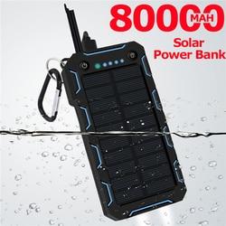 80000mAh Solar Power Bank LED Lighting Outdoor Portable 2 USB Poverbank Travel External Battery for Samsung IPhone Xiaomi
