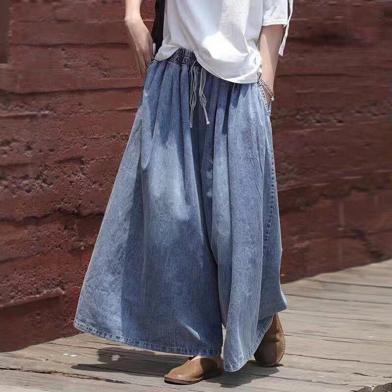 Plus Size Loose Summr Spring Women's Cotton Jeans Casual Wide Leg Oversize High Waist Art Distressed Denim Cropped Jean Pants