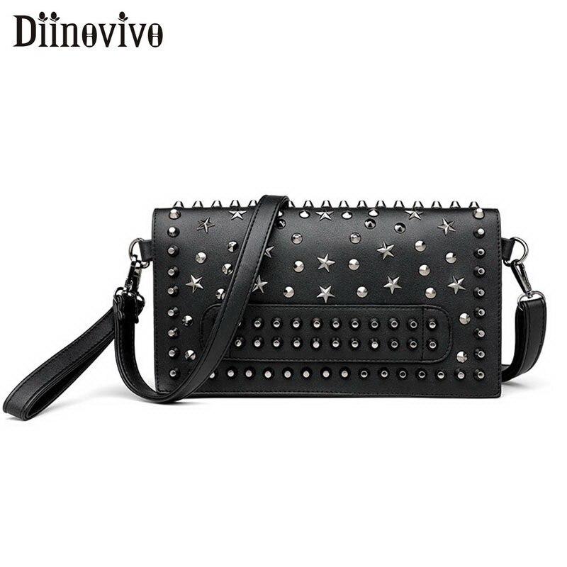 DIINOVIVO Punk Evening Clutch Bags Women Rivet Star Shoulder Bag Female Classic Messenger Bags Purse And Handbag Lady WHDV1393