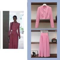 two piece set women korean fashion pink short jacket + long skirt streetwear 2 piece sets womens outfits spring clothes women
