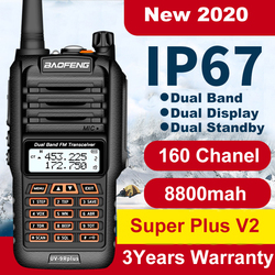 Walkie Talkie de largo alcance Baofeng 160 CH UV 9R Plus 50km IP67, de 2 vías walkie talkie, radio Baofeng uv9r plus Ham CB Radio