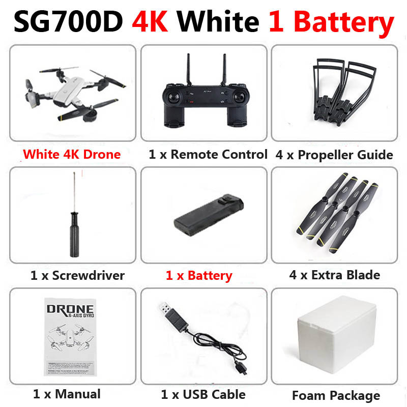 SG700-D Professional Foldable Drone with Dual Camera 1080P 4K Selfie WiFi FPV Optical Flow RC Quadcopter Helicopter VS E520S E58