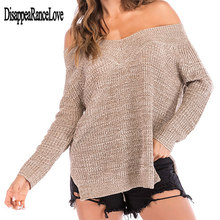 Women Autumn Spring Off Shoulder Sweater Long Batwing Sleeves Solid Color Knitted Pullover Tops Loose Casual Knitwear Jumper New цена