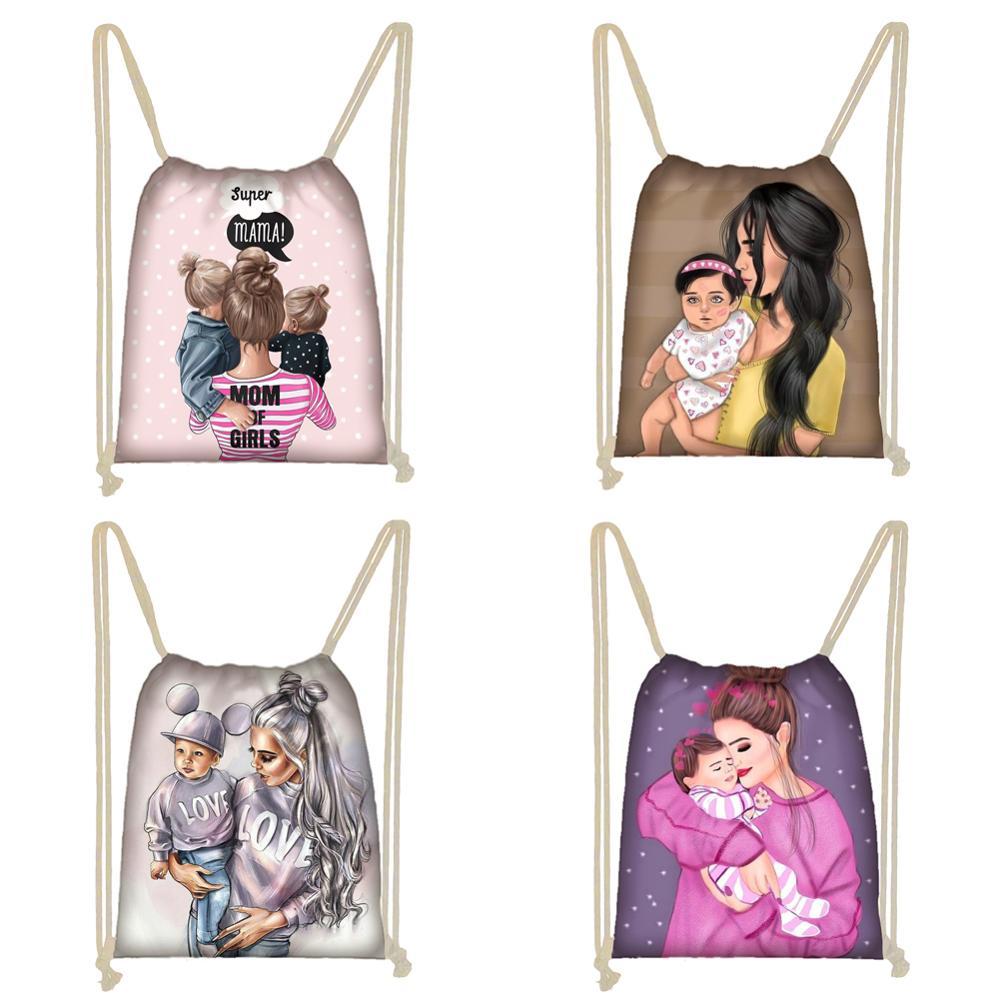 Twoheartsgirl Cute Super Mama Print Drawstring Bag Women Storage Bag For Travelling Princess Girls Casual Backpack Softback