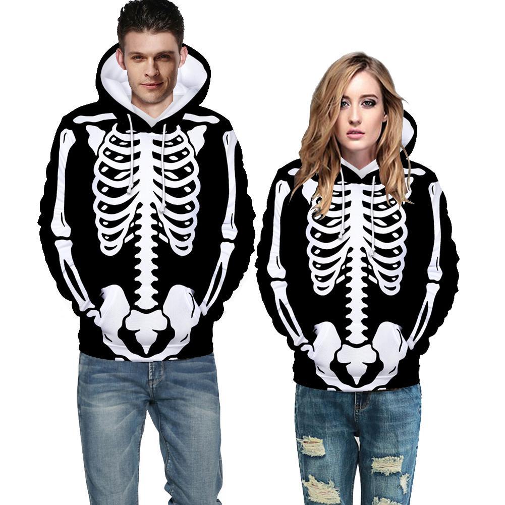 ZACOO Unisex Halloween Skeleton Hoodie Plush Sweatshirt Long Sleeve Loose Printing Pullover