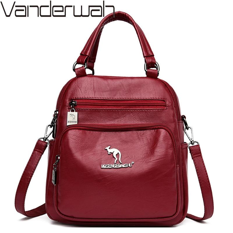 Multifunction Vintage Women Backpacks High Quality Female Back Pack Ladies Shoulder Bag Ladies Leather Travel Backpack Mochilas