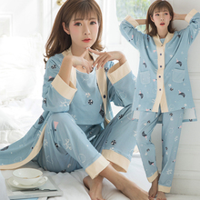 8221# 3PCS/Sets Printed Cotton Maternity Nursing Pajamas Fashion Nightwear Home Wear for Pregnant Women Pregnancy Sleepwear Suit