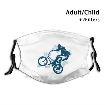 Bmx Bike Rider Children Kids Summer Fun Design Print Reusable Mask Pm2.5 Filter Face Mask Kids Bike Cycling Bicycle Bikers