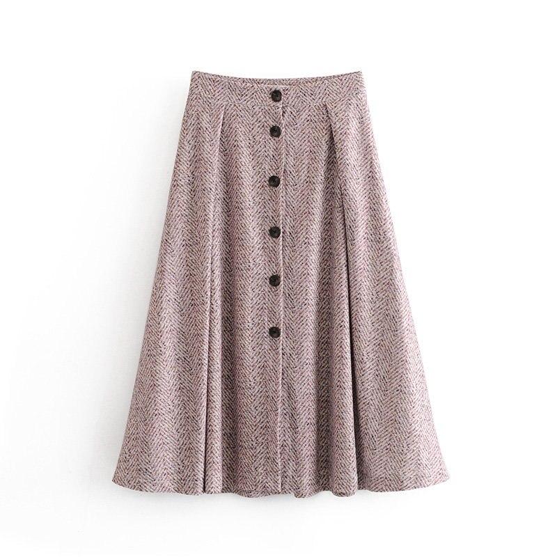 elegant single tweed breasted midi skirt za high waist a-line women faldas mujer moda skirts women  faldas mujer moda 2019