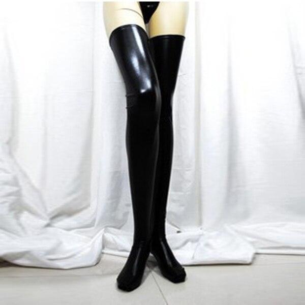 Women Sexy Black Spandex Thigh High Latex Glam Rock Gothic Wetlook Stockings