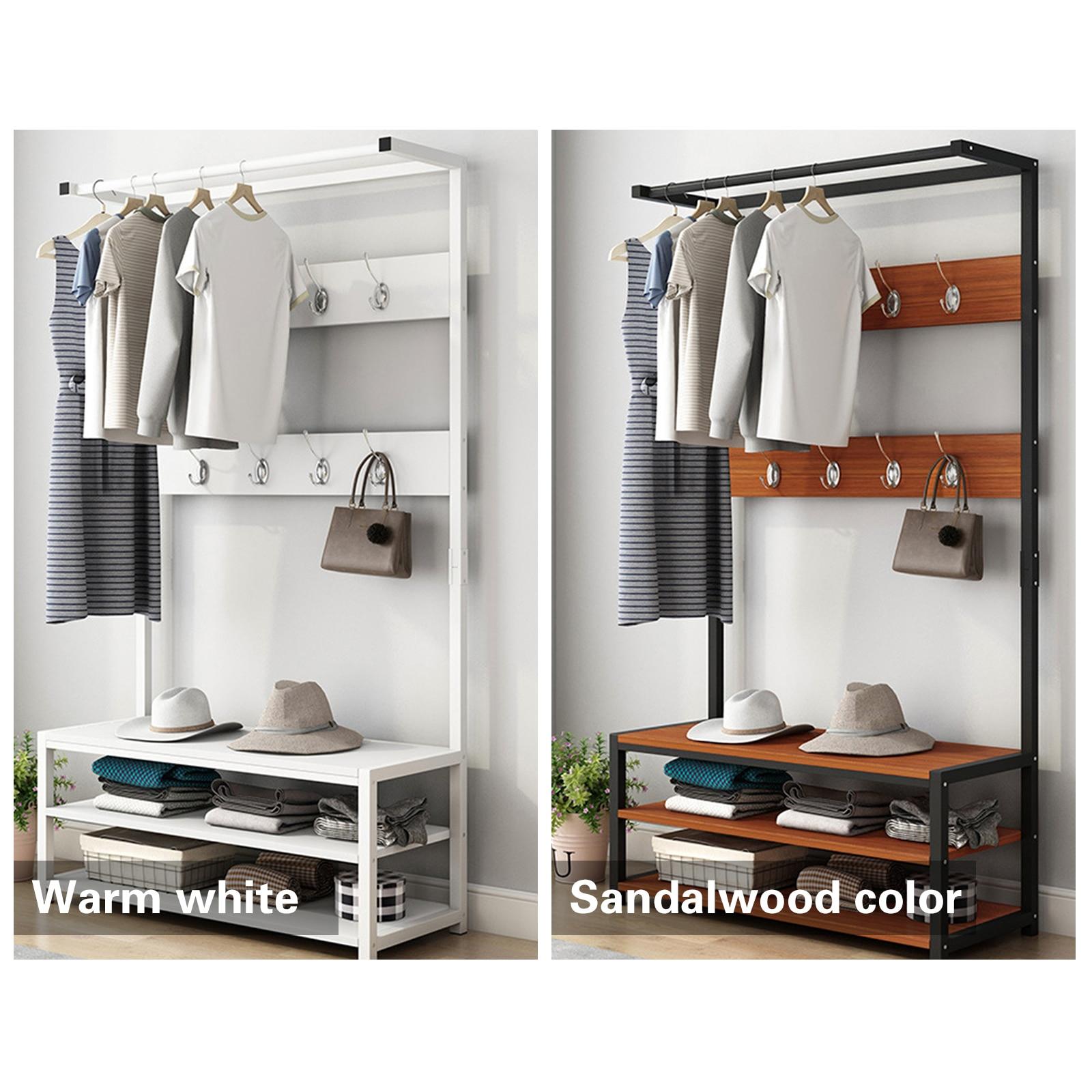 RU sellerMetal 8 Hooks Hat and Coat Stand Clothes Shoe Rack Hanger Hooks Shelf Black/white