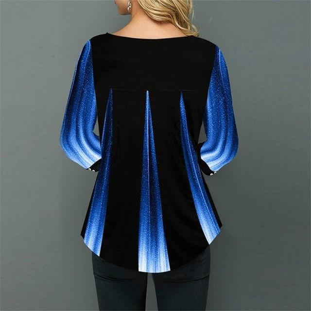 Shirt Women Spring Summer Blouse 3/4 Sleeve Casual 3D Gradient Printing Female Fashion Shirt Tops Plus Size 5XL StreetShirt 2
