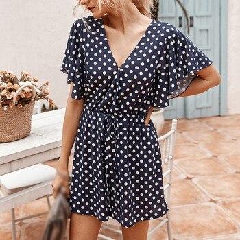 Liva girl Women Polka Dot Print Fashion Black Playsuits Summer Vintage Long Sleeve High Waist With Belt Short Jumpsuit женское платье liva girl 2015