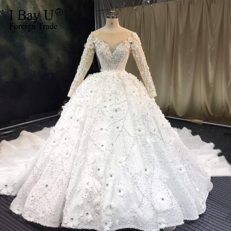 3D цветок жемчужное роскошное свадебное платье 2020 на заказ свадебное платье 2020 вышитый бисером кружева для невесты платье de mariée de luxe