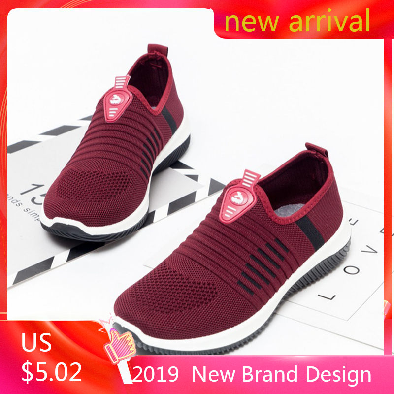 Plus Size Breathable Air Mesh Sneakers Women 2019 Spring Summer Slip On Platform Knitting Flats Soft Walking Shoes Woman#N3
