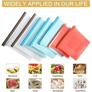 Image 5 - 3 حجم قابلة لإعادة الاستخدام كيس تخزين طعام من السيليكون أكياس محكم ختم الغذاء الحفاظ على الحاويات حقيبة حفظ الطازجة للفواكه النباتية