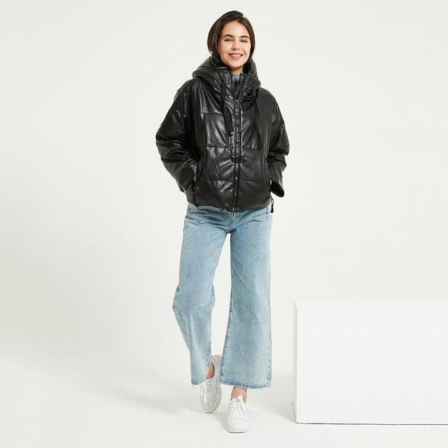 Wixra-veste Parka imperméable à capuche pour femme, nouvelle mode, manteau noir massif et chaud 4