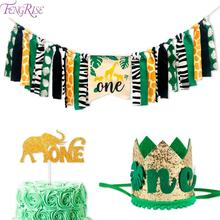 цена на FENGRISE Wild One Birthday Party Decorations Kids Jungle Safari Birthday Decoration First 1st Birthday Safari Jungle Party Decor