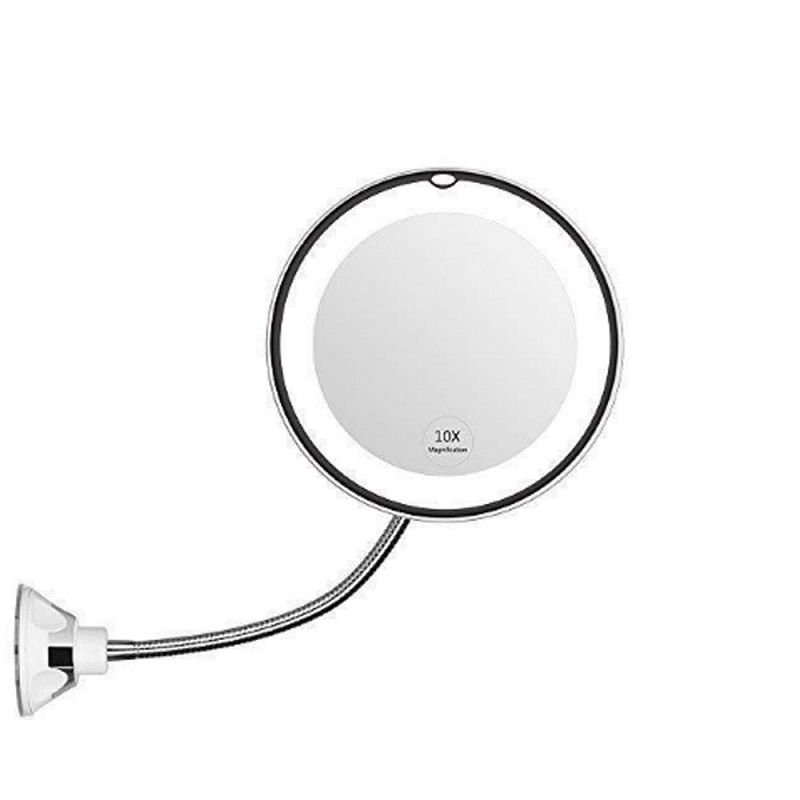 K-STAR 5/10X Magnifying 360-Degree Adjustable Rotating Flexible Sucker Shaving Mirror LED Makeup Vanity Mirror