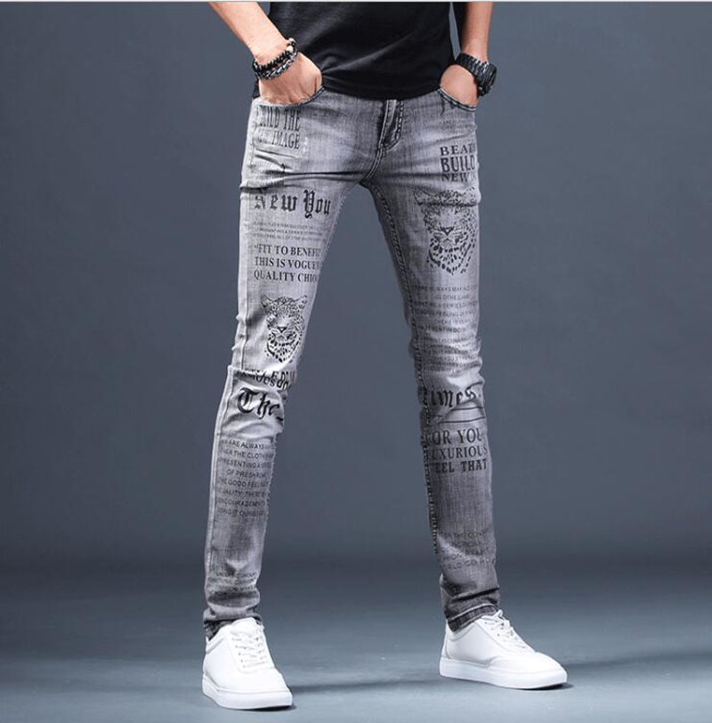 Free Shipping New Men's Male Denim Jeans European Brand Men Summer Printing Personality Fashion Slim Stretch Pants Trousers