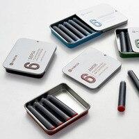 12pcs Kaco 비 탄소 컬러 잉크 카트리지 휴대용 블랙 블루 레드 그린 만년필 잉크 금속/종이 상자 -