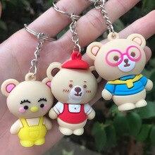 Bear Keychain Pendant Car-Key-Ring Plastic Cartoon Cute Doll Three-Dimensional PCV Soft