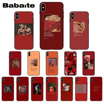Retro red pattern art lyrics aesthetic Phone Case For iPhone 8 7 6 6S Plus 5 5S SE 11 11pro max XR X XS MAX Coque Shell image