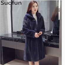 Suofun Long V-Neck Slim Vintage Fashion Women Fur Coat Imitation Mink Fur Whole Mink Medium Length Hooded Winter Women Coats