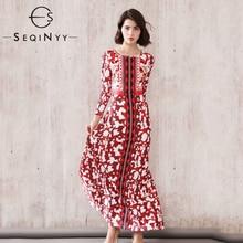 SEQINYY Elegant Long Dress 2020 Spring Autumn New Fashion Design Red Black Printed A-line Women Slim Casual