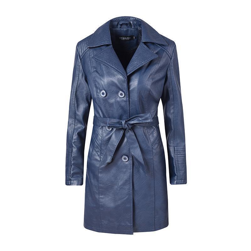 2019 Autumn Winter New Womens Fashion Double-breasted Bandage PU   Leather   Jacket Females locomotive Medium long   Leather   jackets