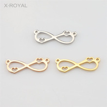X-ROYAL 10Pcs/lot Stainless Steel Fine Polishing Geometric Bracelets Connectors Heart Lucky 8 DIY Findings Double Hole Connector