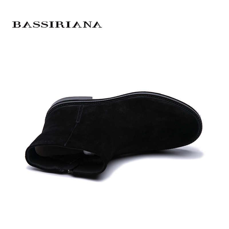 BASSIRIANA2019 deri ayakkabı kadın kışlık botlar siyah süet kauçuk taban kadın ayakkabı yüksek kalite