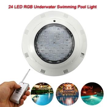 24LED RGB Underwater Swimming Pool Light Multi-Color 12V 45W RGB+Remote Controller Outdoor Lighting Waterproof Underwater Lamp