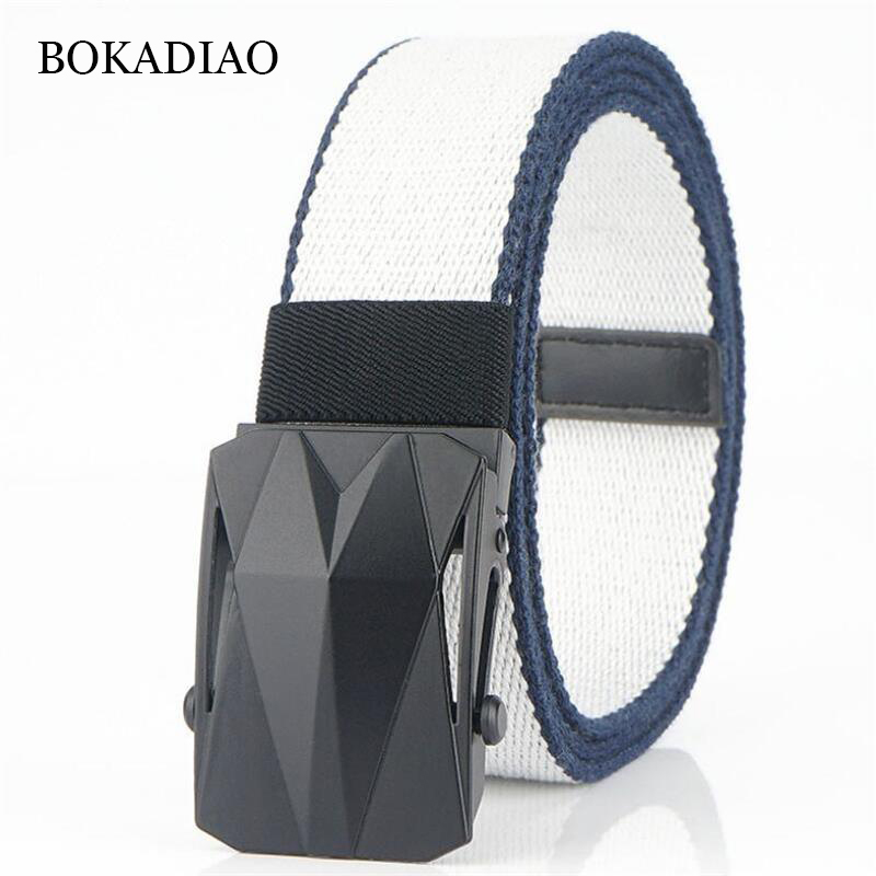 BOKADIAO Casual Canvas Belts For Men Alloy Buckle White Belt Army Military Tactical Belts Man Jeans Waistbrand Cotton Male Strap