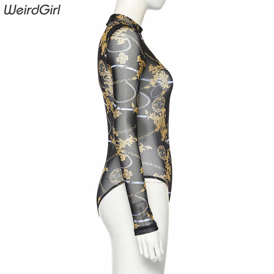 Weirdgirl women fashion print bodysuits sexy see through turtleneck full sleeve femme slim elastic pants rompers autumn 2019