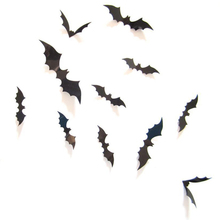Halloween-Bat-Wall-3D-Sticker 12pcs Black 3D DIY PVC Decal For Home Halloween party Scary Decoration Supplie for Wall Decoration 1200 pieces newest wall sticker black 3d diy pvc bat wall sticker decal home halloween decoration