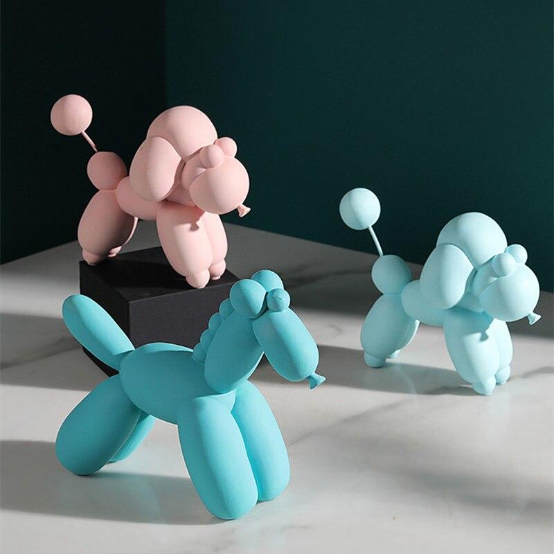 Moderne Simple Jeff Koons brillant ballon chien Sculpture nordique ballons chien cheval Figurine résine Art & artisanat décoration de la maison R2608