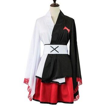 Anime Danganronpa Monokuma Cosplay traje de las mujeres Top falda delantal japonés Kimono uniforme conjunto peluca Carnaval de Halloween ropa