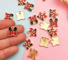 10pcs cartoon letter mickey minnie M Earrings necklace DIY Key chain Metal Charm Pendants Jewelry Making DIY gifts(China)