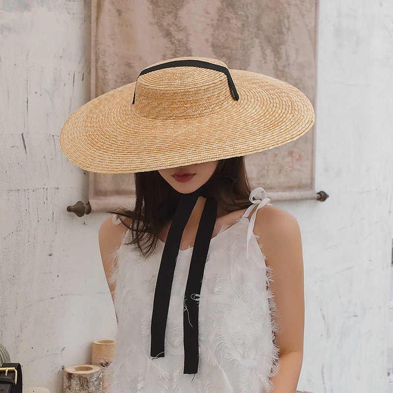 Handgemachte Breite Krempe Natürliche Stroh Hut Frauen Sommer Strand Hüte Mit Langen Band Outdoor Urlaub Strand Kappe UV Sonnenschutz hut