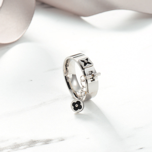 Image 5 - Baoyan Fashion Clover Flower Ring Love Gothic Promise Wedding Engagement Ring Gold/Sliver Stainless Steel Finger Rings For Women