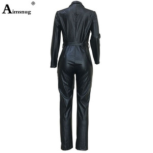 Image 5 - Women Fashion High Waist PU Leather Jumpsuits Lace up Skinny Bodysuits Girls Zipper Faux Leather Spring Winter Sexy Overalls