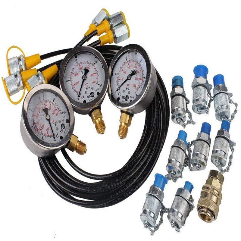 1 комплект экскаватор гидравлический испытательный набор давления тест точка ing муфта Калибр профессиональный гидравлический давление Guage