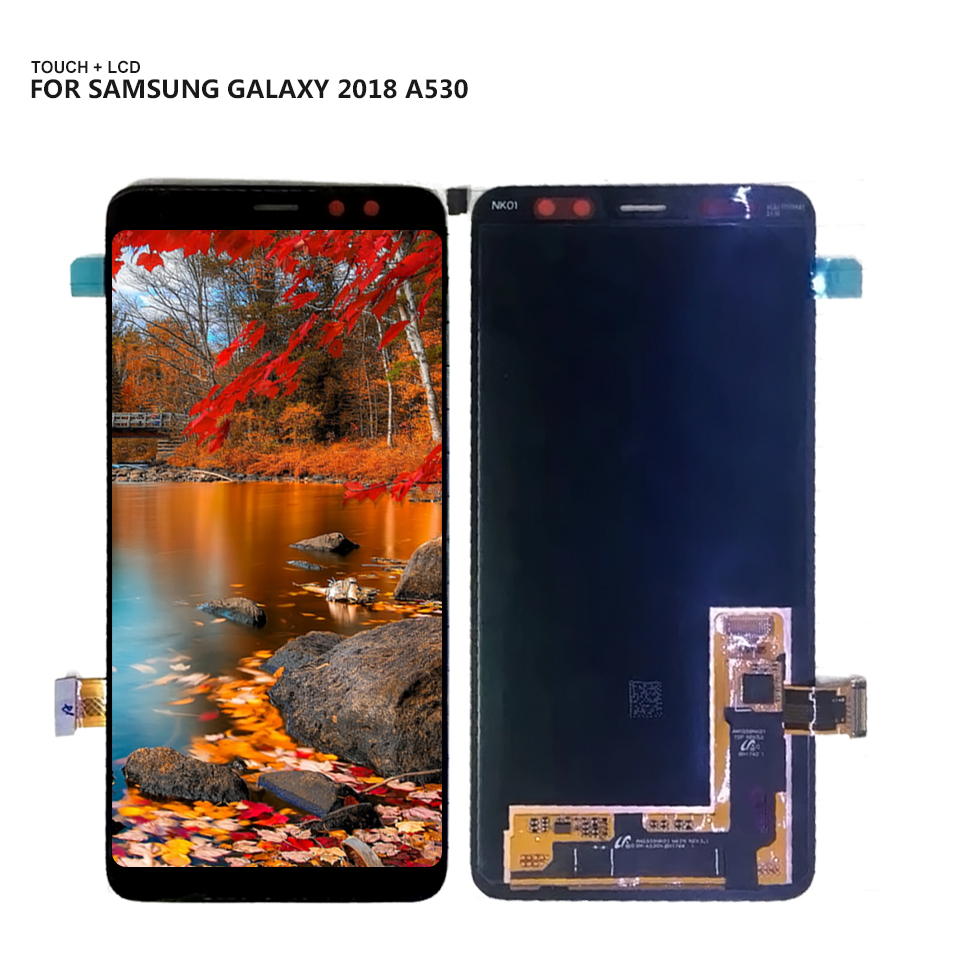 Super AMOLED For <font><b>Samsung</b></font> Galaxy <font><b>A8</b></font> 2018 A530 A530F A530DS A530N SM-A530N LCD <font><b>Display</b></font> Touch <font><b>Screen</b></font> Digitizer Assembly + Tools image