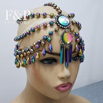 Burning Man Olografica Di Cristallo Copricapo Sfilata di Moda Trascinare Queen Costume Testa Catena Copricapo