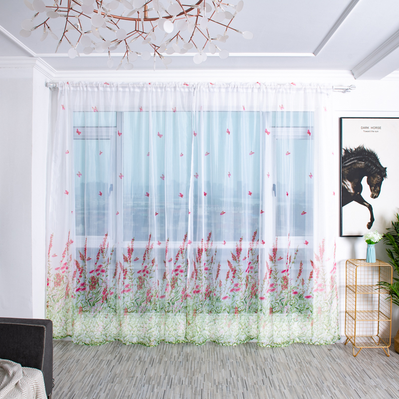 Tree Butterfly Household Decor Curtain Tulle Window Curtains Treatment Voile Drape Valance Panel Fabric Window Curtain 100x200cm