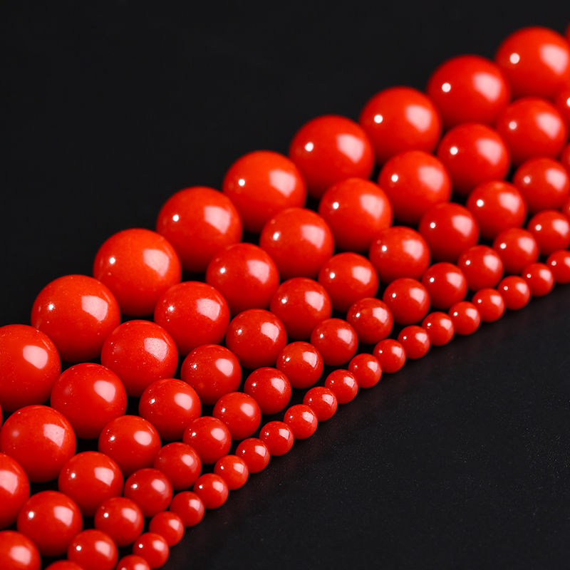 Round <font><b>Red</b></font> <font><b>Coral</b></font> Beads 10 Pcs Pick Size 4/6/8/10/12mm Natural Beads Accessories For DIY Jewelry Makings Necklace Bracelet 18172 image