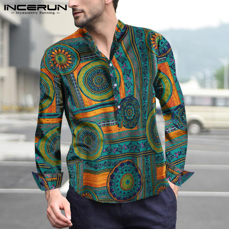 Cotton Men 39 s Shirt Printing Stand Collar Vintage Long Sleeve Camisa Masculina Ethnic Style Loose Casual Shirts Men 2019 INCERUN in Casual Shirts from Men 39 s Clothing